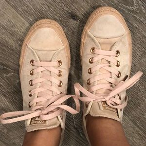 Blush Pink suede Converse with Rose Gold